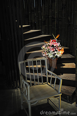 Chair,flowers and stairs