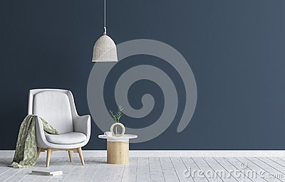 Chair with lamp and coffee table in living room interior, dark blue wall mock up background Stock Photo