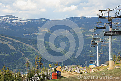 Chair lift in the early spring