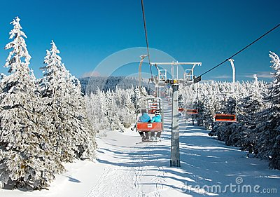 Chair lift on mountain