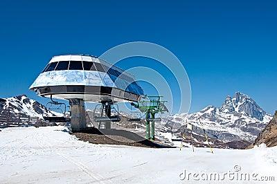 Chair lift in a ski resort