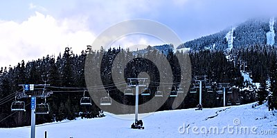 Chair lifts on ski mountain at Canada