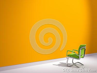 Chair near orange wall