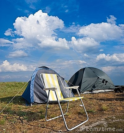 Chair near a touristic tent