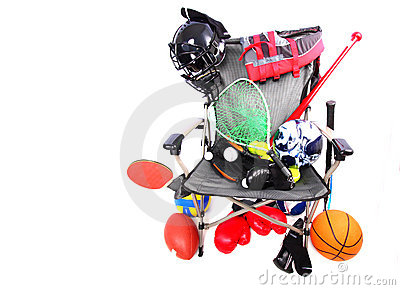 Chair packed with sports equipment