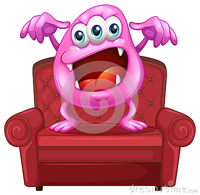 A chair with a pink monster