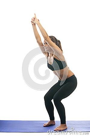 chair pose yoga asana stock photo  image 39962404