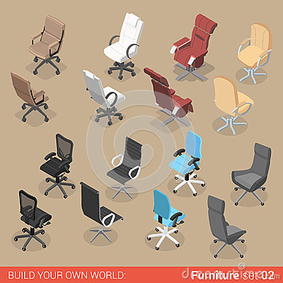 Free Chair Seat Armchair Recliner Flat Vector Isometric Furniture Stock Photos - 66197553