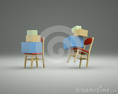 Chairs on the gray background