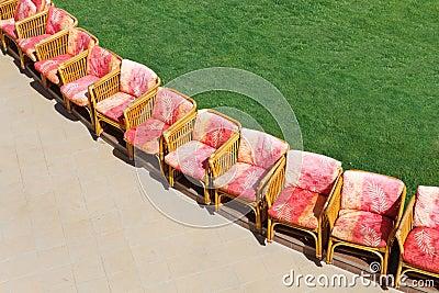 Chairs near lawn
