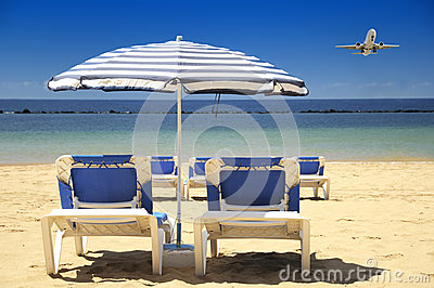 Chairs on a sandy beach