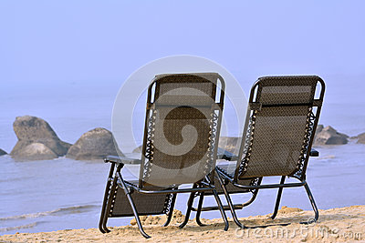 Chairs seaside on sand