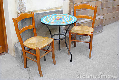 chairs and table, street coffee restaurant