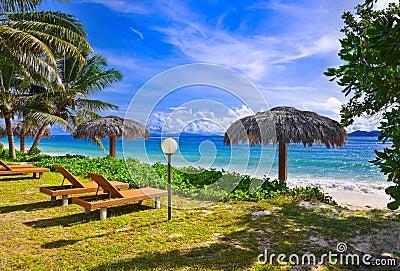 Chairs on tropical beach