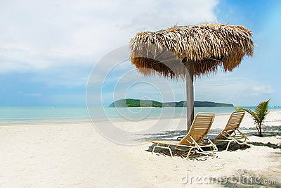 Chairs and umbrella on beach