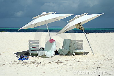 Chairs and umbrellas at the beach