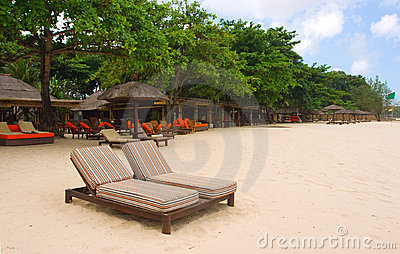 Chairs and umbrellas on beach