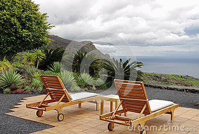 Chairs with the volcano and ocean views