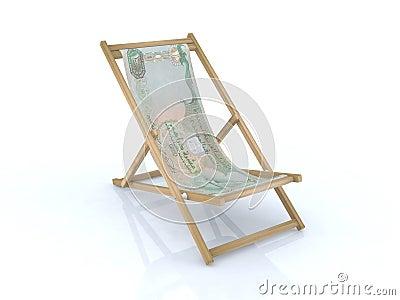 Chaise de bureau en bois avec le billet de banque des for Chaise de bureau en bois a roulette