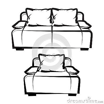 Chaise et sofa retrait de dessin main lev e illustration for Chaise 3d dessin
