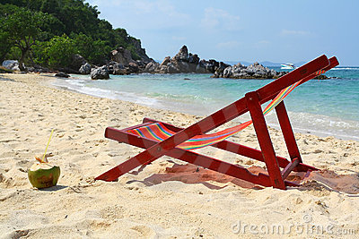 Chaise longue on beach