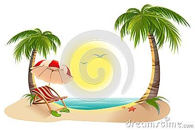 chaise longue de plage sous le palmier parapluie de plage vacances d 39 t dans les tropiques. Black Bedroom Furniture Sets. Home Design Ideas