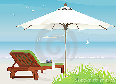 Breezy Beach Chaise Of Chaise Lounge At Beach Royalty Free Stock Photography