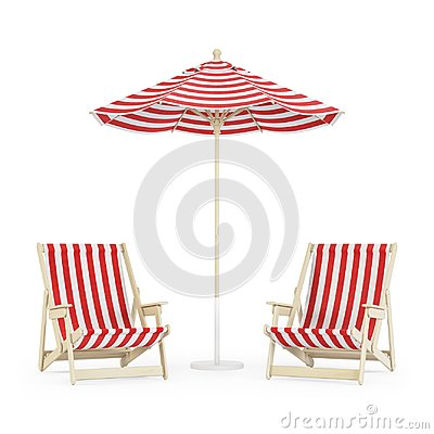 Free Chaise Lounge With Umbrella On White Background. Stock Photos - 116650203