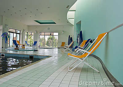Chaise lounger in pool room