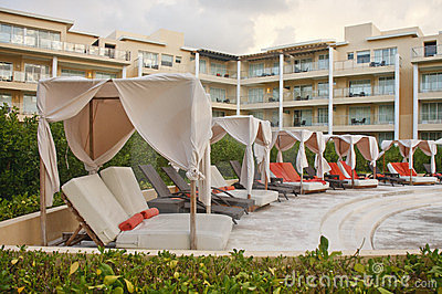 Chaise Lounges in Pool Cabanas