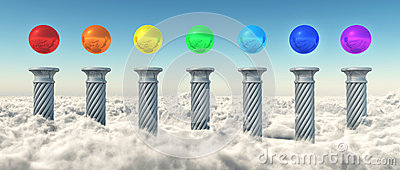 Chakra Spheres Above The Clouds