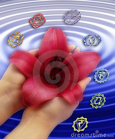 Chakras with lily