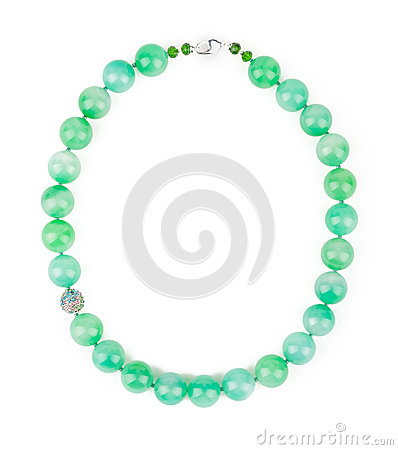 Free Chalcedony Light Green Necklace. Royalty Free Stock Photo - 61959695