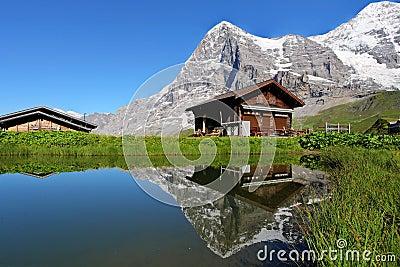 Chalet e montagna di eiger svizzera fotografia stock for Piani chalet svizzero