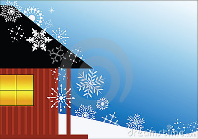 Chalet with snowflakes