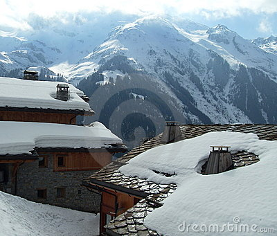 Chalets and snow, savoy, france