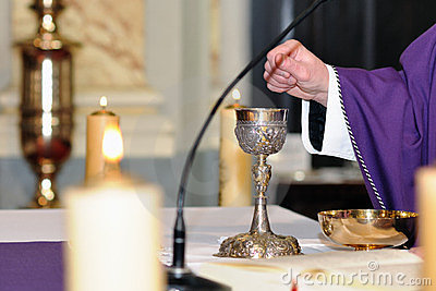 Chalice on the altar for worship