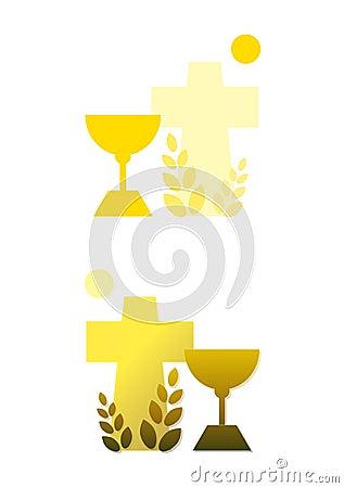 Chalice, cross, grain and sun