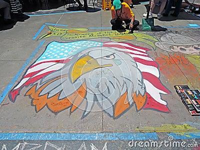 Chalk Art: American Bald Eagle