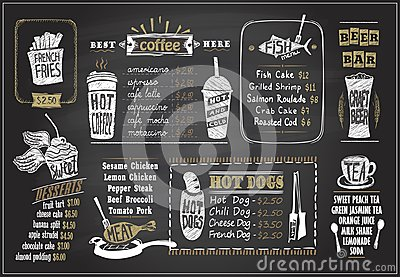 Chalk on a blackboard menu designs set - desserts menu, fish menu, tea, coffee, hot dogs, beer bar Vector Illustration