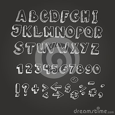 blackboard with white letters chalk on blackboard style alphabet stock vector image 20621