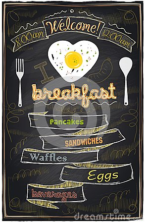 Free Chalk Breakfast Menu. Royalty Free Stock Photography - 39531667