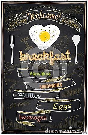 Free Chalk Breakfast Menu. Royalty Free Stock Photography - 39531667