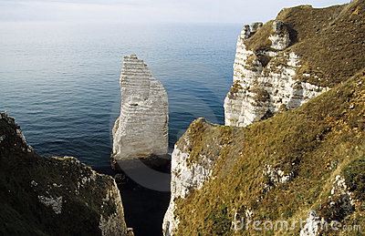 Chalk cliff of Falaise d Aval