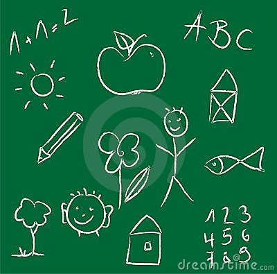 Chalk drawing of a child on green chalkboard