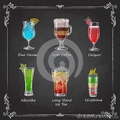 Free Chalk Drawings. Cocktail Menu Royalty Free Stock Photo - 63649765