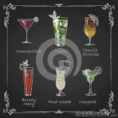 Chalk drawings. cocktail menu Vector Illustration