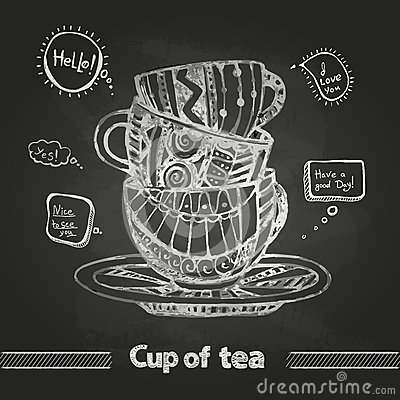 Chalk Drawings Decorative Cup Of Coffee Stock Vector