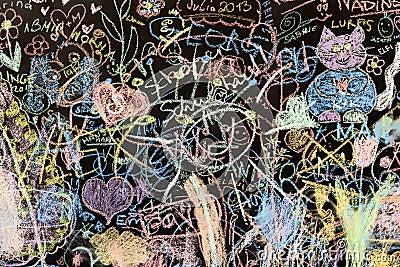 Chalk Drawings On A School Blackboard Royalty Free Stock