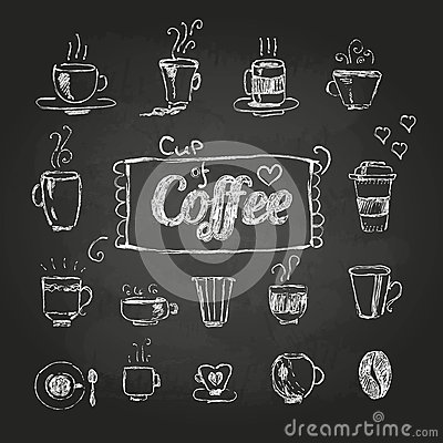 Free Chalk Drawings. Set Of Coffee Cups Royalty Free Stock Image - 41322496